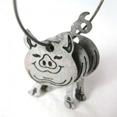3D Baby Piglet Pig Animal Hoop Dangle Earrings in Silver $10