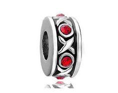 Love Bead, XO Charm, Valentines Bead, Large Hole Bead, European Bead, Charm Bead, Charm Bracelet, European Charm, Big Hole Bead, Red