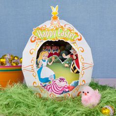 Alice in Wonderland Easter Egg Diorama - free template at link. (Must make this this week!)