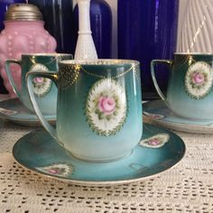 Antique Rosenthal Donatello Roses On Teal Demitasse Cup & Saucer set