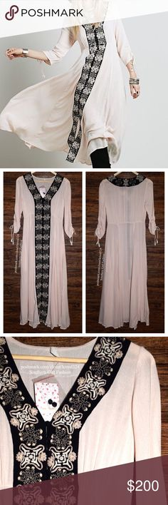 FREE PEOPLE Dress Convertible Bohemian Long Maxi Available Sizes: 2 and 4. New With Tags. $168 Retail + Tax.   • Beautiful & sophisticated, this gauzy maxi dress is perfect for dressing up or down. • Features embroidered panels along split front with button-down detailing. • 3/4 sleeves with ruched tassel ties.  • Semi-sheer.  • 2 side pockets. • Measurements provided below.  {Southern Girl Fashion - Closet Policy}   ✔Bundle discount: 20% off 2+ items.   ✔️ Items are priced to sell…