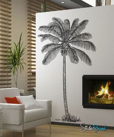 Vinyl Wall Decal Sticker Coconut Palm Tree #237 | Stickerbrand wall art decals, wall graphics and wall murals.