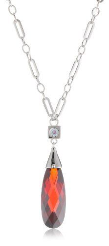 "ELLE Jewelry Garnet Cubic Zirconia Sterling Silver Necklace, 18"" ELLE Jewelry. $190.00. Gemstone is lab created. Gemstone treatments are stable. Made in CN"