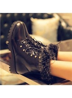Lace-Up Comfortable Flat Boots With Rivets