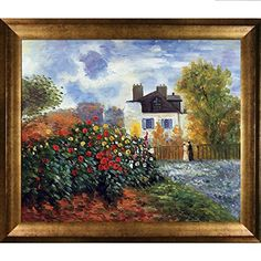 Tori Home 'Garden of Monet at Argenteuil by Claude Monet Framed Oil Painting Print on Canvas Abstract Canvas Art, Canvas Frame, Canvas Wall Art, Home Wall Art, Wall Art Decor, Painting Frames, Painting Prints, Paintings, Art Prints