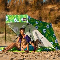 KELSYUS ISLAND SHADE SHACK -  this pop-up shelter features bag-free portability and requires no stakes. Just fill the included bags with sand to secure the side supports.