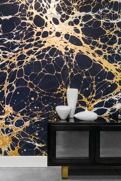From NYC Calico Wallpapers, large-scaled marbled paper patterns in very useable and contemporary color ways.