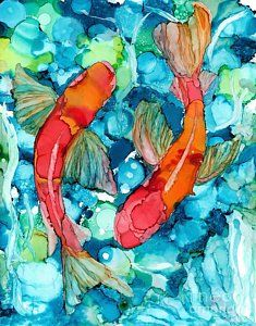 Alcohol Ink Painting - Koi by Jane Marlin