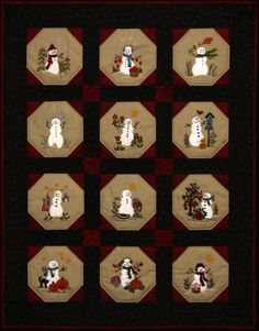 Warm Fuzzy Snowmen Quilt - 12 Wool Applique Blocks & Quilt Finishing Pattern - by Beth Ritter - Inst Wool Applique Quilts, Wool Applique Patterns, Wool Quilts, Quilt Patterns, Felt Applique, Snowman Quilt, Small Quilts, Mini Quilts, Baby Quilts