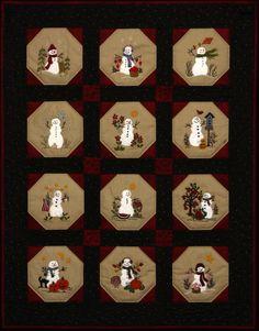 Warm Fuzzy Snowmen Quilt 12 Wool Applique by WellingtonHouseDesig, $24.00