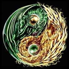 Yin Yang; composition of earth and wood dragons aggressively guarding their own globes (the taijitu's dot elements)