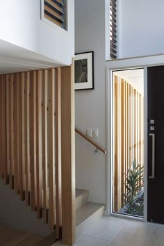 of Nikau House / Strachan Group Architects - 8 timber stair screen at Nikau House / Strachan Group Architectstimber stair screen at Nikau House / Strachan Group Architects Timber Stair, Timber Screens, Stair Handrail, Staircase Railings, Staircase Design, Handrail Ideas, Staircases, Bannister, Interior Stairs