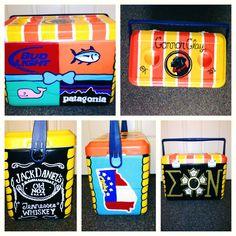 Cooler idea brands: use Vinyard Vines, Patagonia, VS Pink or Romero Britto, & Parrot Bay or Smirnoff Fraternity Crafts, Sorority And Fraternity, Delta Zeta, Sigma Kappa, Formal Cooler Ideas, Greek Crafts, Vinyard Vines, Cooler Painting, Frat Coolers