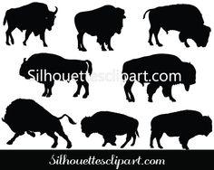 Bison Silhouette Vector Graphics DownloadSilhouette Clip Art