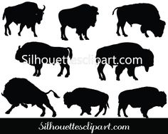 Bison Silhouette Vector Graphics Download