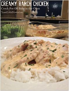 Slow Cooker Creamy Ranch Chicken (cream of chicken soup, cream cheese, chicken broth, Ranch dressing mix, garlic, parsley)