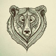 bear face illustration, drawing, design