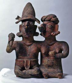 Pareja sentada. Cultura Ixtlán del Río, México. 300 a.C.