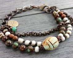 Egyptian scarab and gemstone bracelet. $31. my Etsy shop https://www.etsy.com/listing/227885454/scarab-bracelet-egyptian-scarab-beetle
