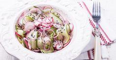 Recette de Salade de concombre aux radis à la japonaise. Facile et rapide à réaliser, goûteuse et diététique. Ingrédients, préparation et recettes associées.