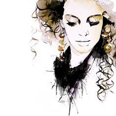 Fashion Illustration  http://www.etsy.com/listing/84835627/fashion-illustration-portrait-print?ref=v1_other_2