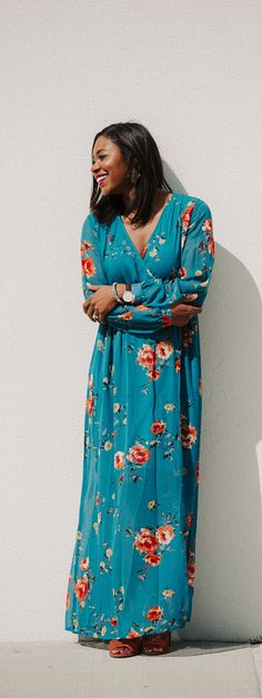 Spring style PinkBlush teal floral print chiffon dress. Great for maternity or non-maternity. SidelineSocialite.com