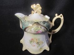 RS Prussia Tea Pot Antique 5 inch Flowers Old NR