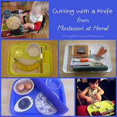 Cutting with a Knife from Montessori at Home! #SuliaMoms #preschool
