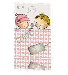 Geboortekaartje meisje traditionele roze print met naam slinger