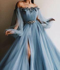 Petite Blue Hot Long 2018 Abendkleid Sexy Slit Abendkleid A-Line Prom Dresses - . Petite Blue Hot Long 2018 Abendkleid Sexy Slit Abendkleid A-Line Prom Dresses – Ue Tüll lange A Elegant Dresses, Pretty Dresses, Sexy Dresses, Dance Dresses, Long Gown Elegant, Casual Dresses, Gorgeous Prom Dresses, Woman Dresses, Fabulous Dresses