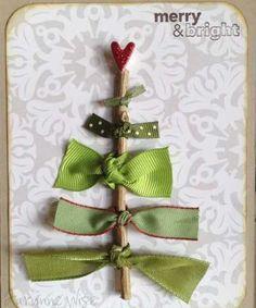 Fácil de bricolaje Holiday Crafts - Cintas Verdes y el corazón rojo - Haga clic pic durante 25 Handmade Christmas Cards Ideas para Niños:
