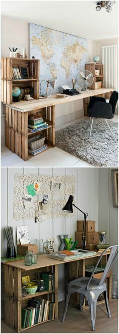 More than 60 Super Ideas Home Office Creative Workspace Storage Home Office Design, Home Office Decor, Diy Home Decor, Office Den, White Office, Office Designs, Decorating Office, Room Ideas Bedroom, Bedroom Decor