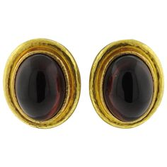 Elizabeth Locke Garnet Cabochon Gold Earrings