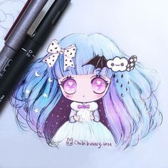 🎀💜✨🌙 just colored my sketch ^^ And I like it ^^ 💕🌙😘🌸💖😍 #chibibunny…