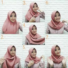 Discover recipes, home ideas, style inspiration and other ideas to try. Square Hijab Tutorial, Pashmina Hijab Tutorial, Hijab Style Tutorial, Stylish Hijab, Modest Fashion Hijab, Modern Hijab Fashion, Hijab Tutorial Segi Empat, Tutorial Hijab Wisuda, Hijab Prom Dress