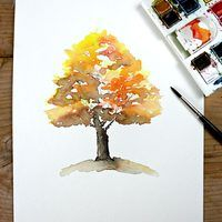 Recreating the beautiful ever blending colors of fall with watercolor is a great beginner's exercise.