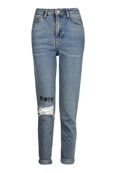 MOTO Chinese Symbol Embroidered Mom Jeans - Jeans - Clothing - Topshop