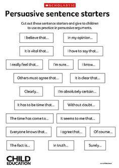 Persuasive sentence starters – Primary KS2 teaching resource