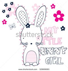 my little bunny girl with butterfly and flower vector illustration