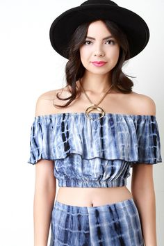 Tie Dye Ruffle Off The Shoulder Crop Top – Style Lavish