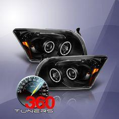 06-12 Dodge Caliber CCFL Projector Headlights with Amber Reflectors - Pair (Black)