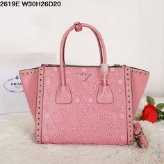 Оригинальная сумка из натуральной кожи розового цвета с рисунком от Prada
