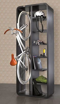 Bike storage unit with shelving.  Great for urban dwellers with limited space.