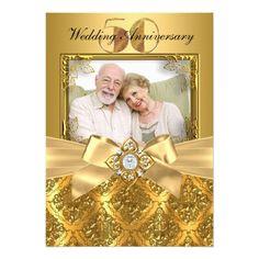 Elegant Damask & Bow Photo Gold 50th Anniversary Card