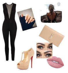 """""""Black and nude!"""" by miazinhaa on Polyvore featuring Christian Louboutin, Yves Saint Laurent and Lime Crime"""