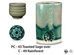 This 100% mixable celadon glaze is a deep, glossy forest green that pools and accents textured ware like the ancient glaze it is created to imitate.  Due to the powdered nature of the materials involved with the dry-mix dipping buckets of this product, their respective health information and labels differ from the brushing glazes.