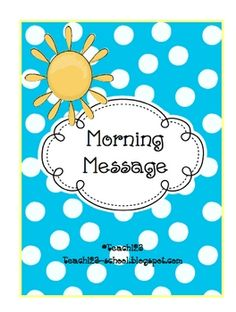 From TEACH123 - FREE  Five morning messages with answers are included in this packet.  These work great for emergency sub plans or those days when you get pulled from class for a last minute meeting.     I wrote about this packet on my blog on FEBRUARY 27TH. Go check it out to get more ideas! Teach123-school.blogspot.com