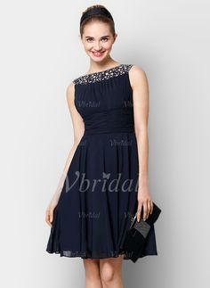 A-Line/Princess Scoop Neck Knee-Length Ruffle Beading Chiffon Zipper Up at Side Regular Straps Sleeveless No Dark Navy Spring Summer General Cocktail Dress