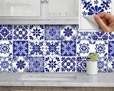 Tile Stickers Vinyl Decal for backsplash Bath Kitchen Floor Waterproof Removable: Mexican Talavera