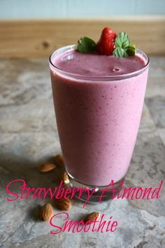 Strawberry Almond Protein Smoothie. Healthy breakfast or lunch